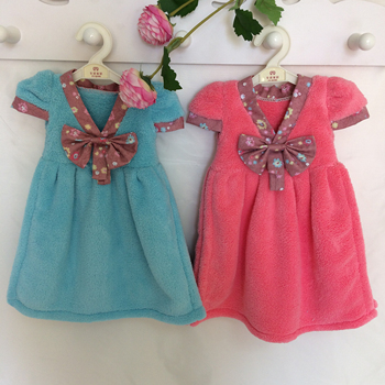 2018 Hot sell coral velvet kids skirt cute design hand towel multi-color OEM