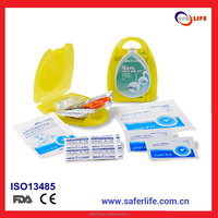 SL-X25 Wholesale Small car Travel First Aid kit for family emergency yelow color first aid plastic case kit