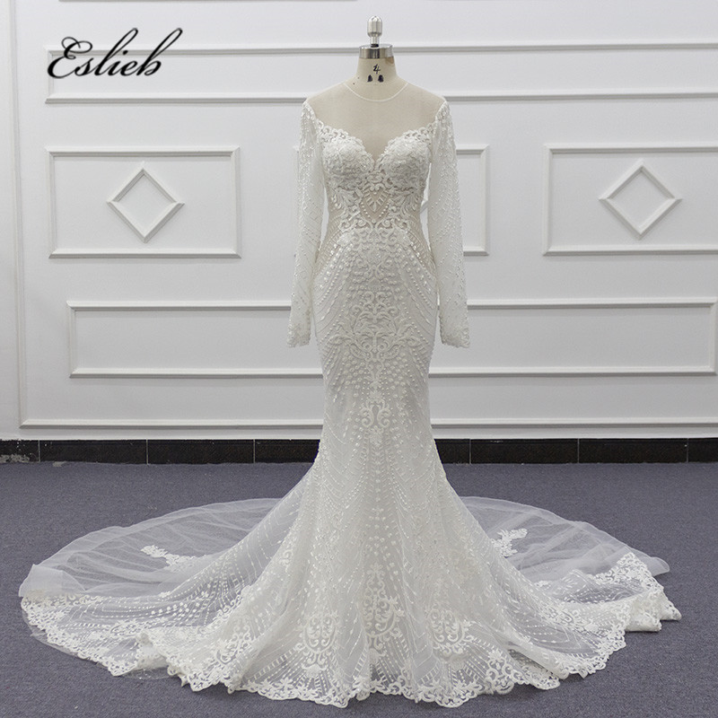 2019 New Illusion Vestido De Noiva White Lace Mermaid Wedding Dress Cap Sleeve Wedding Gown Bride Dress