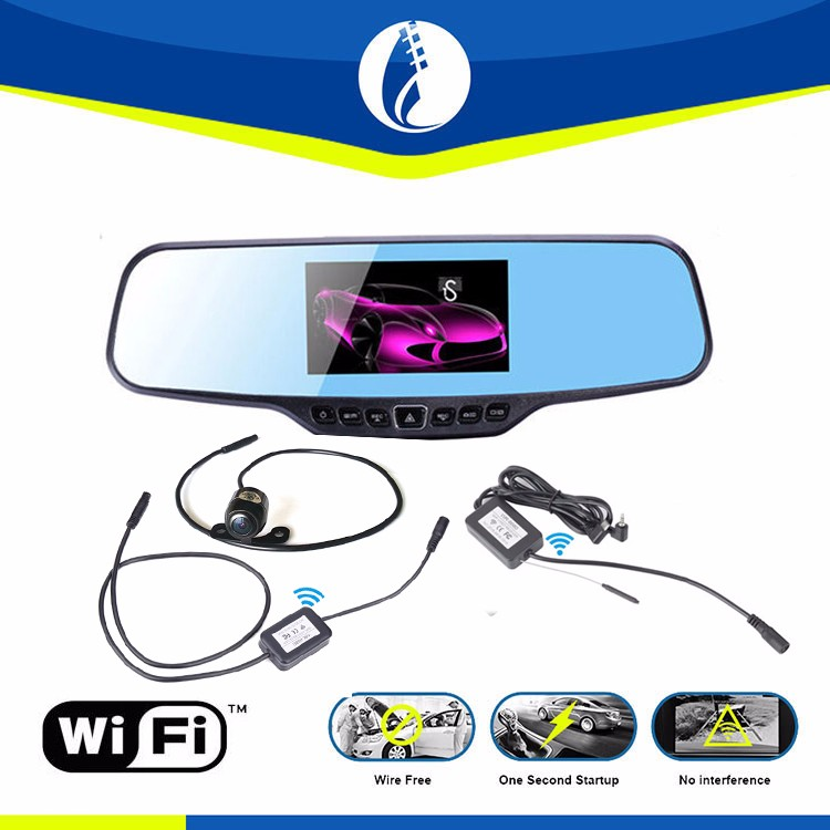 3 in 1 4.3 inch LCD Screen Car Rear View Backup Mirror Monitor + car dvr recorder + wifi Wireless Reverse IR parking Camera Kit