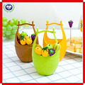 Factory supply creative plastic bucket shaped fruit fork with stand