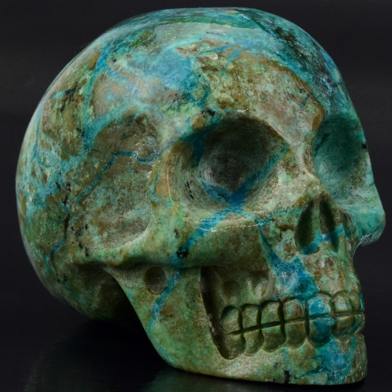 natural carved 2 inch gemstone African Turquoise crystal skull for sale