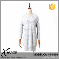 CA-14-0109 Fashion women long sleeve knitted dress unique cashmere sweater woman v-neck dress