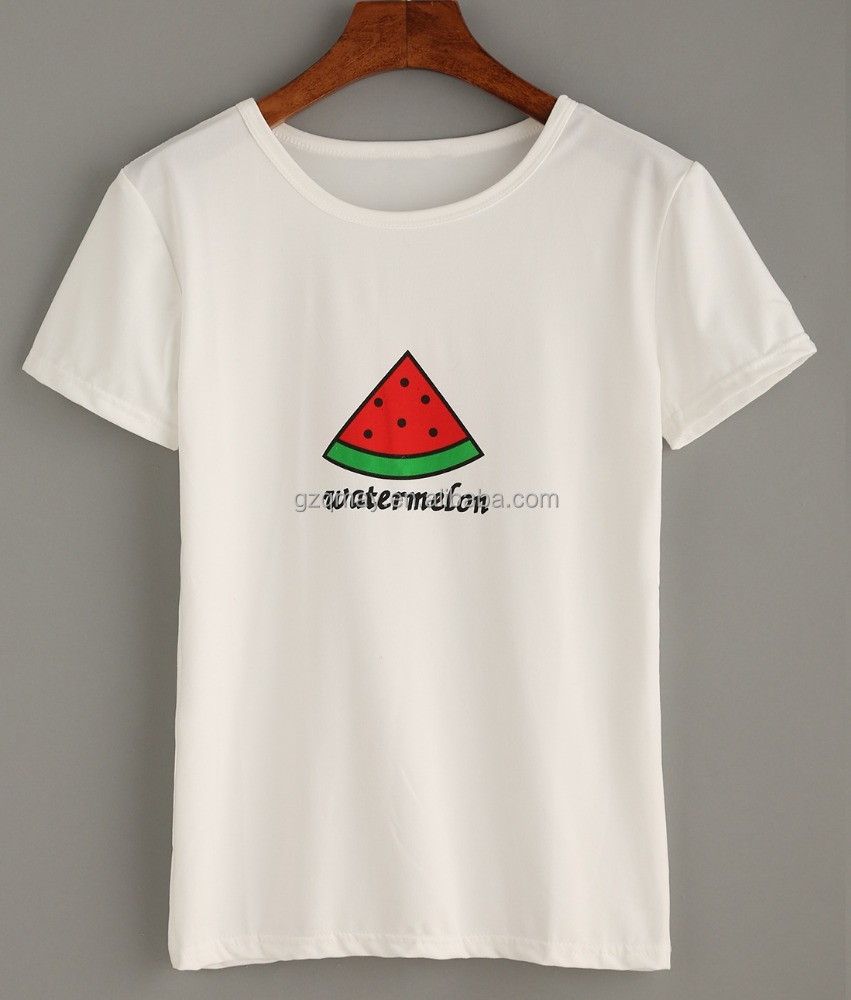 Wonderful Oversized Short Sleeve Cute Eco Friendly Cotton White Watermelon Print T-shirt from China Wholesale Factory