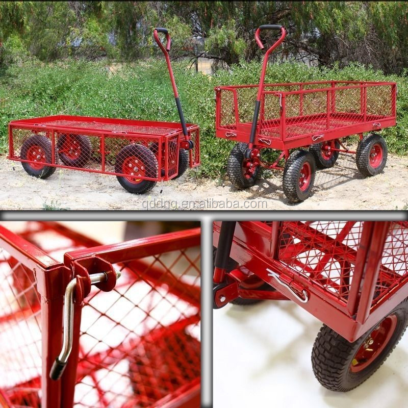 Large four-wheel metal garden wagon with drop down sides Utility garden yard work cart TC4205