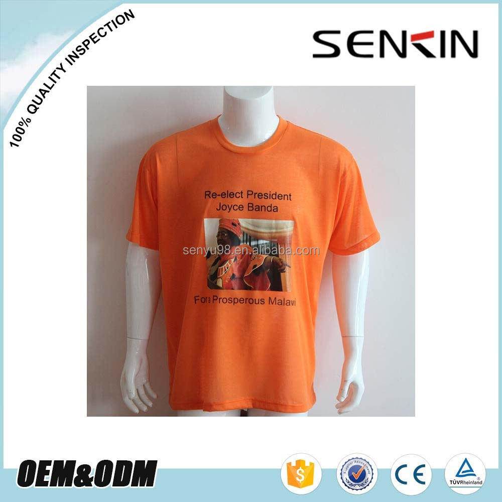 Free Size OEM Cotton Silk Screen Printing Basic T Shirt Political Election Campaign T Shirt