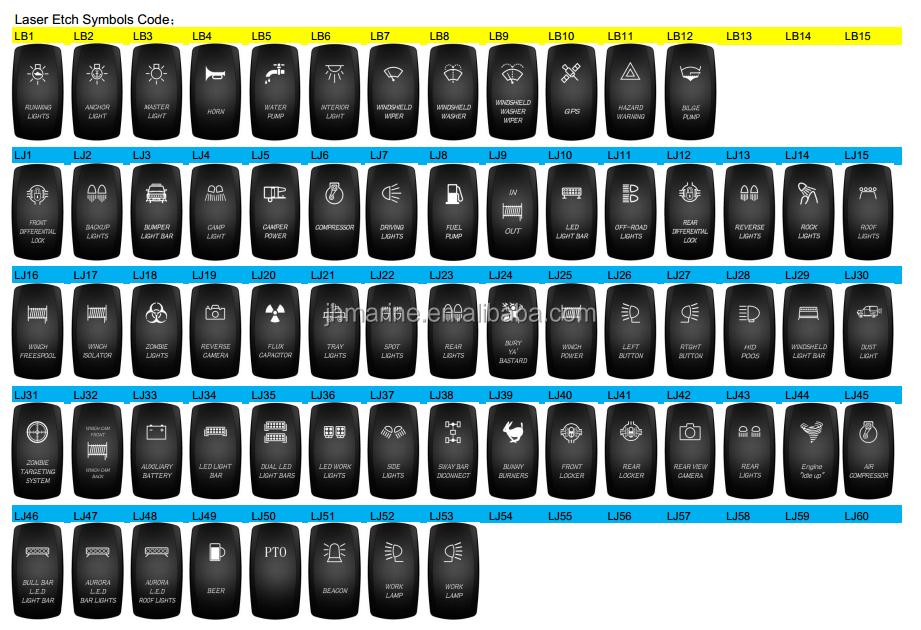 100 Waterproof Car Cover Zombie Light Rocker Switch Blue Arb Carling Style Type Rocker Switches ...