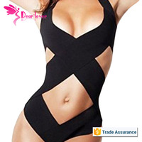 2015 Hot Sell Black Crisscross One Piece Sex Girl Photo Bathing Suit Design