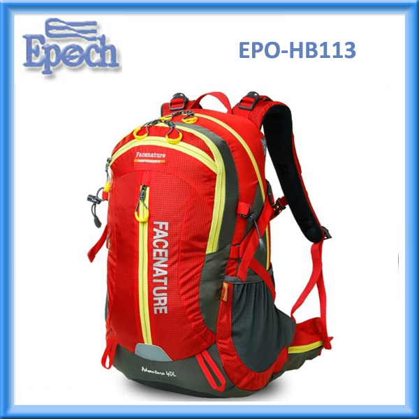 Hot selling hiking backpack polyester camping backpack with soft back