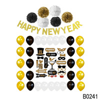 Gold Paper Pom Poms Balloons Carnival Happy New Year Decoration