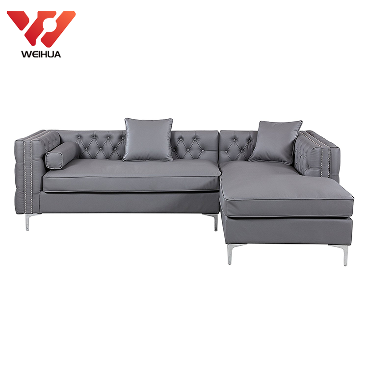 Tufted Pu Leather Left Chaise Silvertone Metal Legs Sectional Sofa