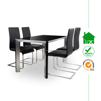DT-2014 modern black dining table with glass top