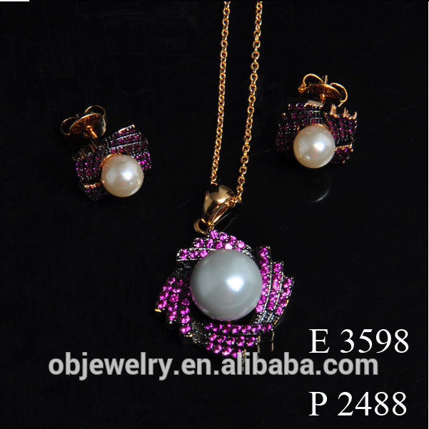 Fashion Dubai Gold Necklace Pendant With Earrings For Women/Pearls Earrings And Necklace