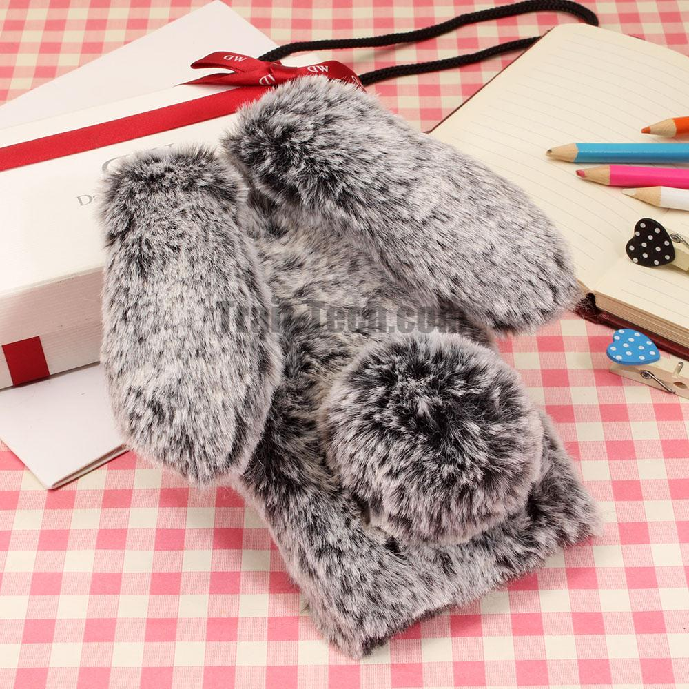 Rabbit Warm Fur TPU Case for iPhone 8 Ladies Girls Downy Cover for iPhone 8 Plus 3D Hairy Case