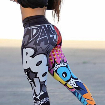 Fashion Boom Graffiti Printed Sportswear Fitness Yoga Leggings Sexy Outdoor Pants High Waist Slim Yoga Pants 2019