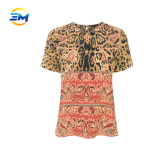 Custom fashion design lady blouse short sleeve ronud collar printed 100% silk t shirt blouse