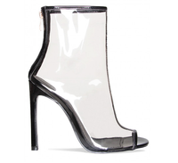 New model fashion Black Peep Toe Clear Heel Ankle Boots