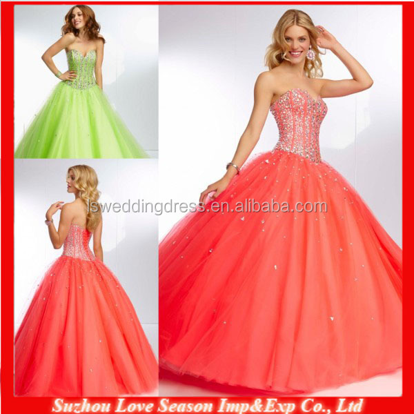 HE2081 Lime green boned bodice with beaded sweetheart neckline strapless lace up back tulle princess ball gown prom dresses long