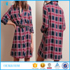Factory customize elegant girls plaid long sleeve minidress with belt