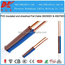 bvvb wire bs standard 450/750v building wire H05VVH2-U H05VVH4-U BS6004 6242Y PVC insulated and sheathed copper flat power cable