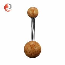 New Design Non-dangle wooden ball Button Piercing Navel belly Ring