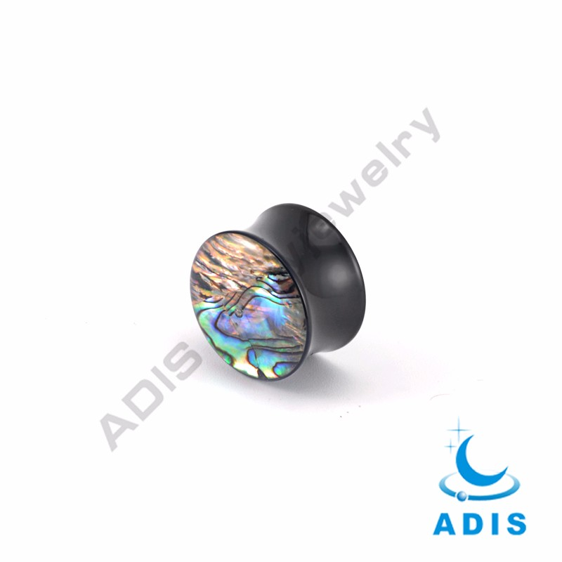 Hot selling jewelry black acrylic abalone shell inlay ear plugs tunnel wholesale