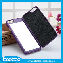 Dual Layer Card Slot Mirror Hard Plastic Case Cover Bag For iphone 6 Mirror Case