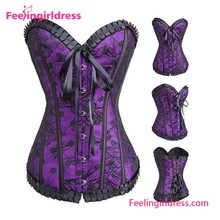 Factory Price 2016 Sexy Purple Pattern Plastic Steel Boned Slimming Lace Overbust Corset