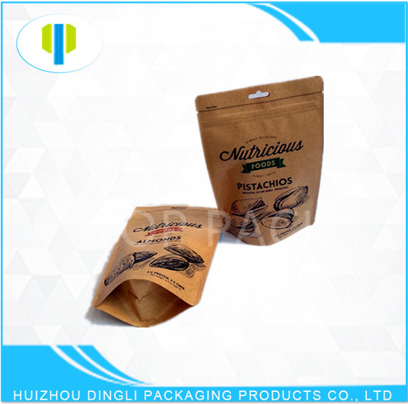 Custom print recycle food grade stand up zipper kraft paper bag for nuts