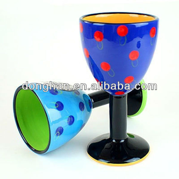 colourful wave point ceramic small goblet wine cups with various decal design