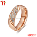 hight polished stainless steel jewelry 6mm rose gold stainless steel ring setting white zircon for woman's finger rings