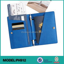 Saffiano Leather RFID Blocking Fake Passport Cover & Travel Wallet & Passport Card Holder