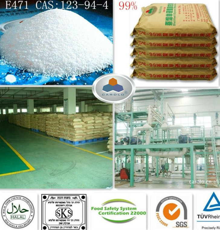 powder emulsifier milk E471 China Large Manufacturer CAS:123-94-4,C21H42O4,HLB:3.6-4.0, 99%GMS