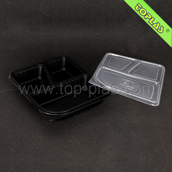 Plastic 3 Compartment Disposable Bento Lunch Box Microwave