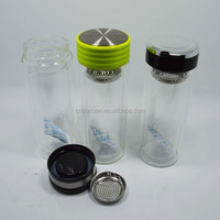 Wholesale Promotional elegant reusable BPA free wholesale branding glass bottles for water and tea with fliter&ring