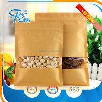 Eco-friendly Moisture Proof food kraft paper bag with window and zipper plastic packaging bags