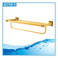 Chrome and gold finish brass double towel bar,towel shelf,towel rack