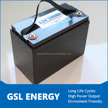 Rechargeable LiFePO4 12V 100AH Battery for Electric vehicle with charger