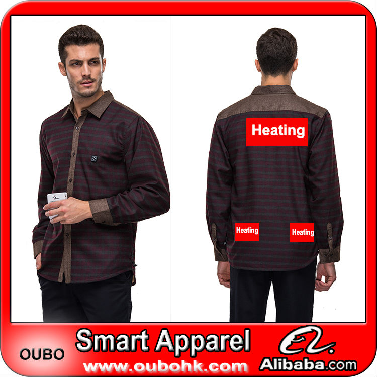 High Quality Custom men's blouse with high-tech electric heating system battery heated clothing warm OUBOHK