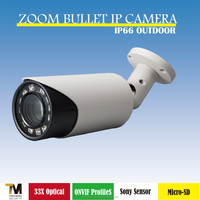 Taiwan manufacturer Support ONVIF ProfileS Sony CMOS sensor digital zoom bullet IP Camera