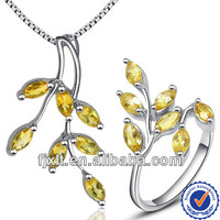 Hot Sale New Fashion Natural Citrine Jewelry Set, 925 Sterling Silver Gem Jewelry Set