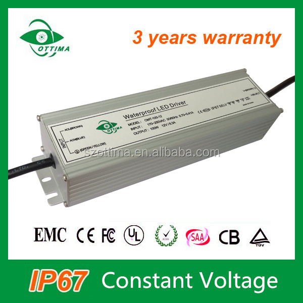 12v transformer for led lights constant voltage led driver IP67 150W no dimmable for led strip light