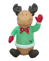 4 Foot Christmas Inflatable Cute Smiling Reindeer w/ Holly Garden Blow-up Decor