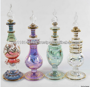 High quality Handmade Glass Perfume Bottle with 14 k Gold
