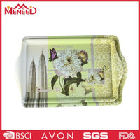 Hot sale melamine plastic custom printed cheap china supplier serving tray with handle