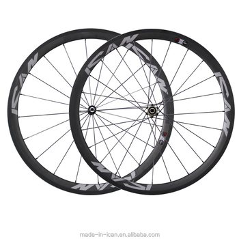 ICANBikes 23mm T700 road bike width carbon wheels UD matte with ICAN logo 20h front 24h rear rimsets