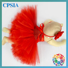 Tutu Dress Newborn Red Flower Tulle Tutu Fairy Christmas Princess Wedding Dress for Baby Girl