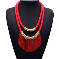 New Trendy Fashion Jewelry Mesh Filled With Seadbeads Chain Tassel Gold Chain Necklace