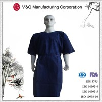 PP disposable dark blue patient gown with short sleeve