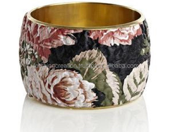 oil painted flower design enamel bangle